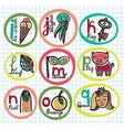 Cute colorful cartoon alphabet from i to q vector