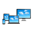 Cloud computing concept set of computer devices vector
