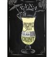 Pina colada cocktail chalk vector