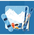 Winter sports background with equipment sticker vector