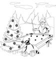 Santa claus playing billiards vector