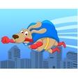 Super dog flying over city vector