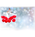 Holiday background with christmas branch with red vector