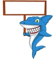 Angry shark with banner vector