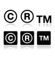 Copyright trademark icons set vector