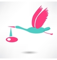 Stork icon with baby on white background vector