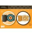 Digital camera in frame on orange background vector