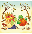Fruit and vegetables in autumn vector
