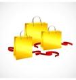 Gold shopping bag  ribbon red and stars vector