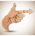 Hand with pointing finger and arrow vector
