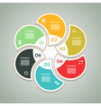 Cyclic diagram with six steps and icons eps 10 vector