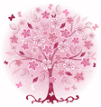 Decorative pink spring tree vector