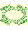 Floral elements in green hues over light yellow vector