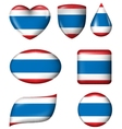 Thailand flag in various shape glossy button vector