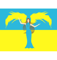 Female angel against the flag of ukraine vector