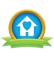 Gold love house logo vector