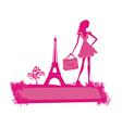 Fashion slim women silhouette shopping in paris - vector