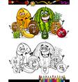 Cartoon tropical fruits for coloring book vector
