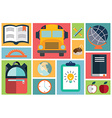 Collection of school items icons flat design long vector