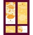 Golden art flowers vertical frame pattern vector