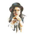 Watercolor portrait of women in a hat vector