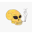 Grunge skull smoke a cigarette vector
