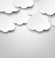 Paper white clouds on grey vector