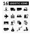 Set of black logistic icons vector