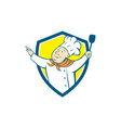 Chef cook arm out spatula shield cartoon vector