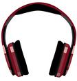 Red headphones vector