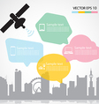 Satellite dish and city background vector