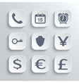 Finance icons set - white app buttons vector