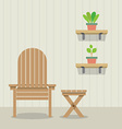 Garden chair and table with pot plants on wooden vector