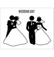 Stick figure wedding couples vector