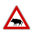 Wild pig warning sign vector
