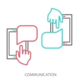 Hand and smartphone chat application template vector