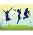 Silhouette of two man and woman jumping on summer vector