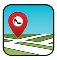 Street map icon with the pointer shoe shop vector