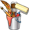 Bucket with brushes vector