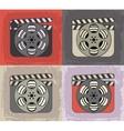 Grunge retro cinema icons vector