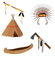 Native american set five icons vector