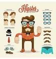 Hipster character with hipster elements and vector