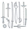 Cold weapons outline set vector