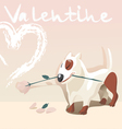 Valentine dog with a rose vector