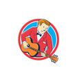 Musician guitarist playing guitar circle cartoon vector