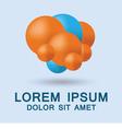 Blue and orange molecular background vector