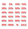 Retail sale percents red icons set vector