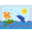 Dolphin and mermaid in the sea waves vector