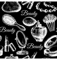 Beauty seamless pattern cosmetic accessories vector
