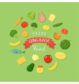 Fresh organic food flat style icon set vector